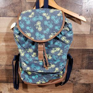 Madden Girl blue bicycle canvas backpack